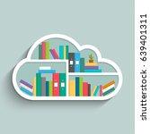 bookshelf in form of cloud with ... | Shutterstock .eps vector #639401311