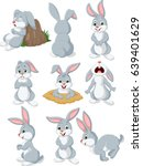 Stock vector cartoon rabbit with different pose and expression 639401629