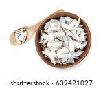 coconut pieces in bowl and... | Shutterstock . vector #639421027
