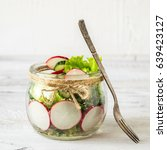vegetarian salad  appetizer of... | Shutterstock . vector #639423127