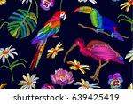 exotic birds paradise. seamless ... | Shutterstock .eps vector #639425419