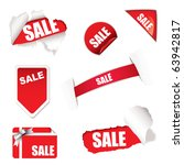red shop sale elements on white ... | Shutterstock .eps vector #63942817