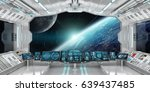 spaceship interior with view on ... | Shutterstock . vector #639437485