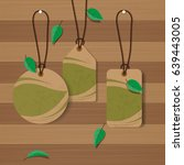 set of eco labels on wood... | Shutterstock .eps vector #639443005