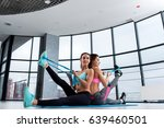 two female friends working out... | Shutterstock . vector #639460501