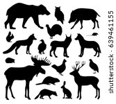 Stock vector vector collection of forest animals includes black silhouettes monochrome set isolated on 639461155