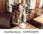 pretty girl talk on the phone... | Shutterstock . vector #639464695
