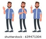 Set Of Character Bearded Man...