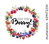fresh berries background. frame ... | Shutterstock . vector #639472234
