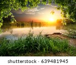 tranquil fishing lake in sunny...   Shutterstock . vector #639481945
