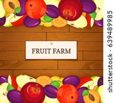 wooden box with fruits. vector... | Shutterstock .eps vector #639489985