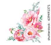 watercolor bouquet of pink... | Shutterstock . vector #639491371