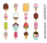 ice cream icons set sweet.... | Shutterstock . vector #639500317