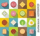 slice food ingredient icons set.... | Shutterstock . vector #639500929