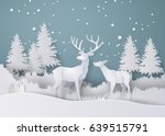 deer in forest with snow in the ... | Shutterstock .eps vector #639515791