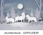 wolf in forest with snow and... | Shutterstock .eps vector #639515839