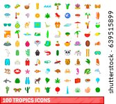100 tropics icons set in... | Shutterstock . vector #639515899