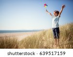 Boy Playing With Windmill In...