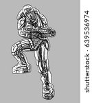 commando in armor suit with...   Shutterstock .eps vector #639536974