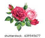 Stock photo red and pink roses floral composition watercolor for wedding card 639545677