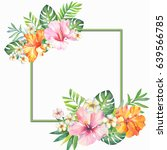 watercolor frame from tropical... | Shutterstock . vector #639566785