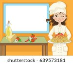 woman chef with spaghetti and... | Shutterstock .eps vector #639573181