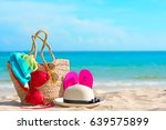 beach accessories on the sands | Shutterstock . vector #639575899
