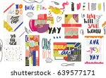 big set of funky and creative... | Shutterstock .eps vector #639577171