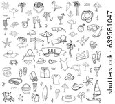 hand drawn doodle beach set... | Shutterstock .eps vector #639581047