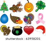 Vector Illustration. Set of 12 Holiday Icons. - stock vector