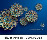 paper graphic of islamic... | Shutterstock .eps vector #639601015
