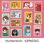 cute cartoon stamps   Shutterstock .eps vector #63960262