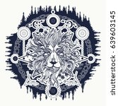 ornamental tattoo lion head.... | Shutterstock .eps vector #639603145
