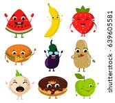 animated food flat icon set | Shutterstock .eps vector #639605581