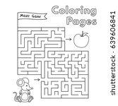 cartoon mouse maze game. vector ... | Shutterstock .eps vector #639606841