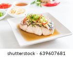 snapper fish steamed with soy... | Shutterstock . vector #639607681