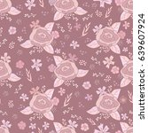 seamless pattern of floral... | Shutterstock .eps vector #639607924