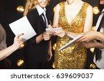 superstar woman wearing golden... | Shutterstock . vector #639609037