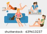 flat design people reading a... | Shutterstock .eps vector #639613237