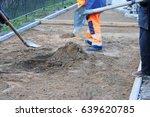 masons preparing the basis for... | Shutterstock . vector #639620785