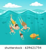 family swimming underwater.... | Shutterstock .eps vector #639621754
