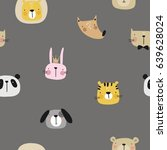 vector print with cute animal.... | Shutterstock .eps vector #639628024