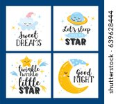 vector set of four night cards... | Shutterstock .eps vector #639628444