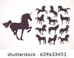 magic cute unicorns silhouettes.... | Shutterstock .eps vector #639633451