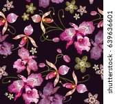 orchids embroidery seamless... | Shutterstock .eps vector #639636601