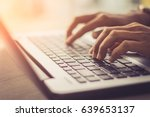 woman using laptop  searching... | Shutterstock . vector #639653137