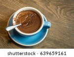 blue cups of hot chocolate... | Shutterstock . vector #639659161