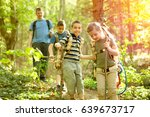 kids in green forest playing... | Shutterstock . vector #639673717