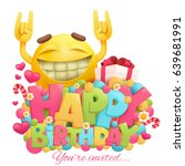 happy birthday card with funny... | Shutterstock .eps vector #639681991