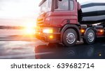 concrete mixer truck on highway.... | Shutterstock . vector #639682714